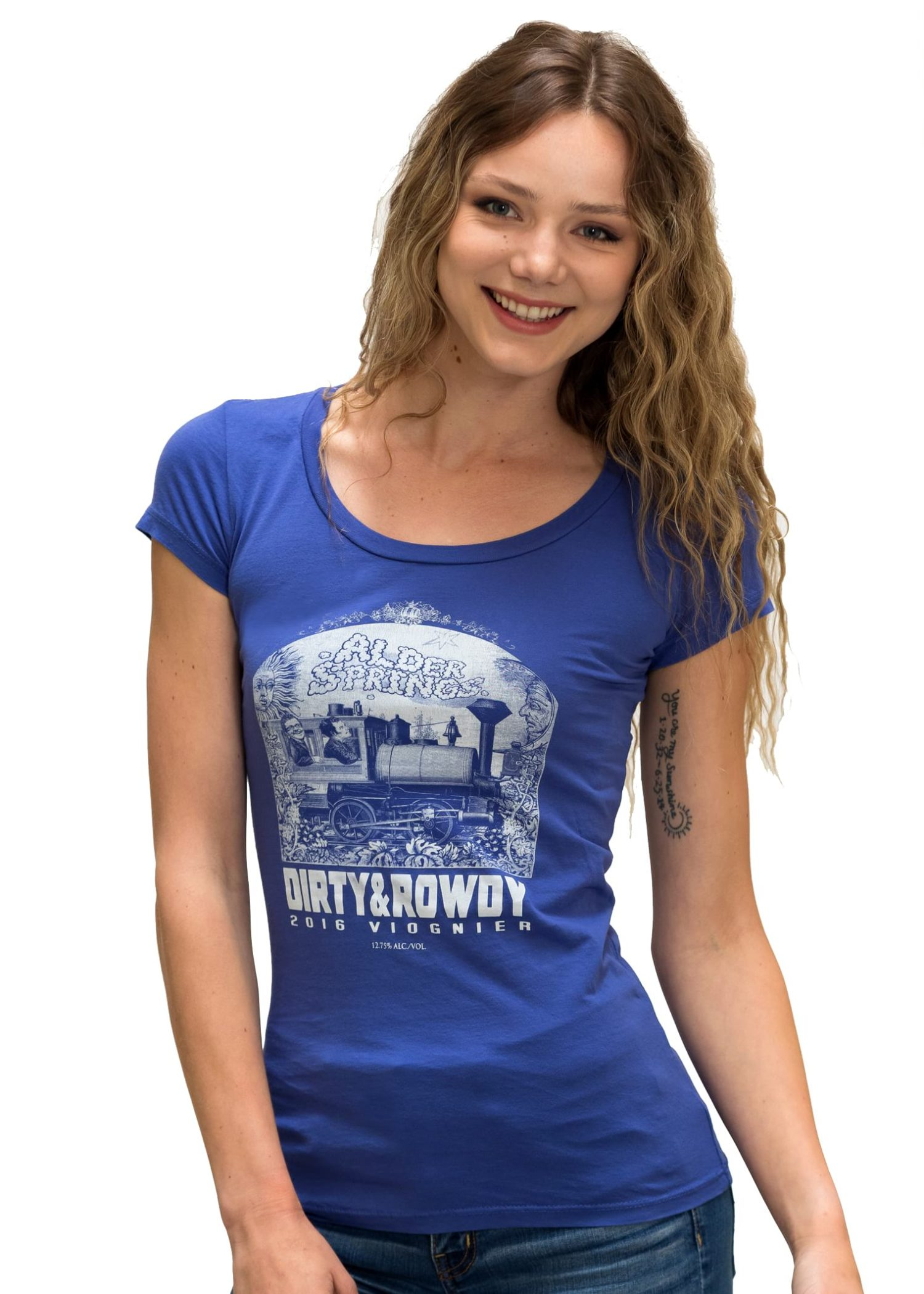 Women's Blue Dirty and Rowdy Jersey Scoop T-Shirt