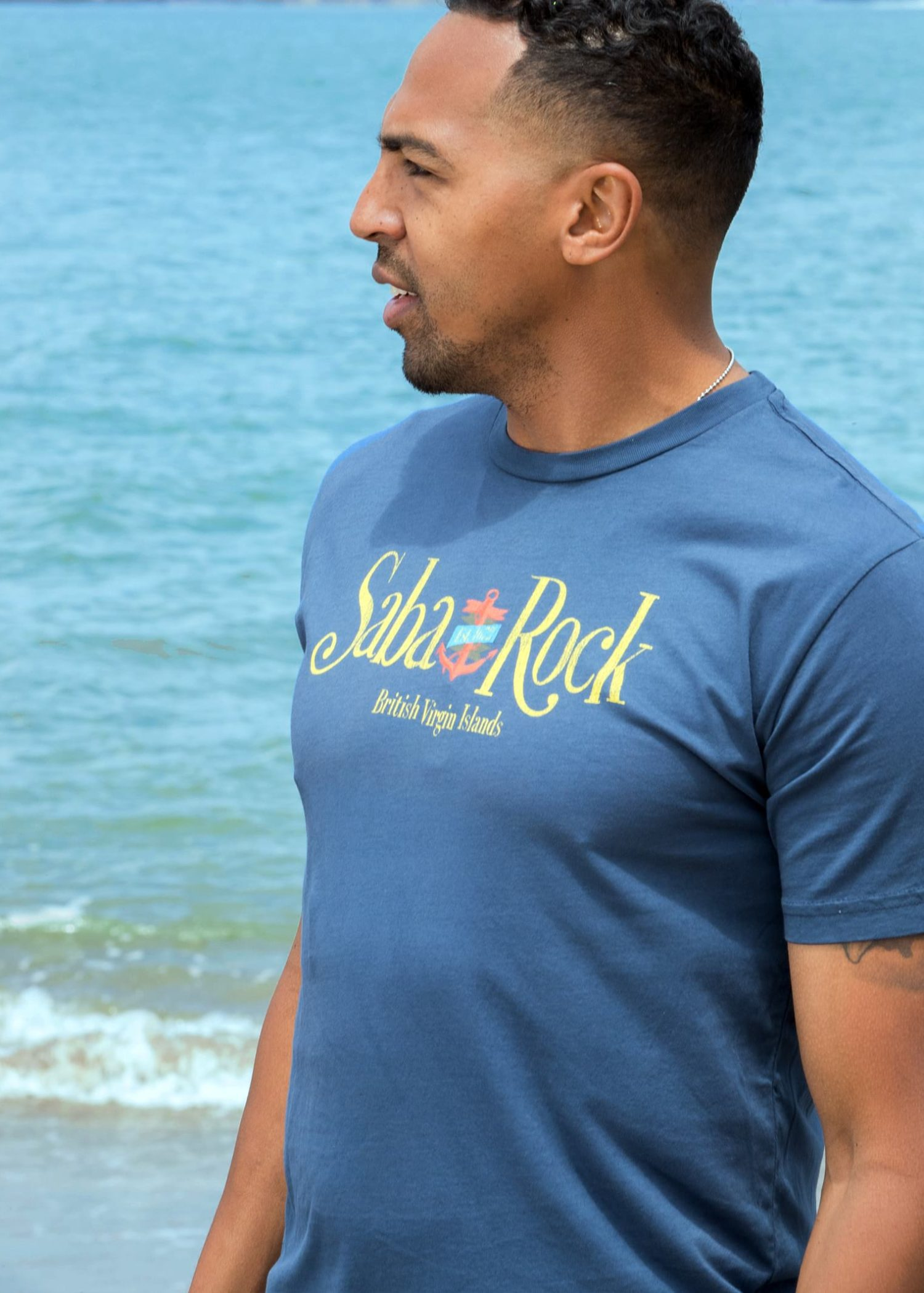 Men's Blue Saba Rock Jersey Crew Blue T-Shirt