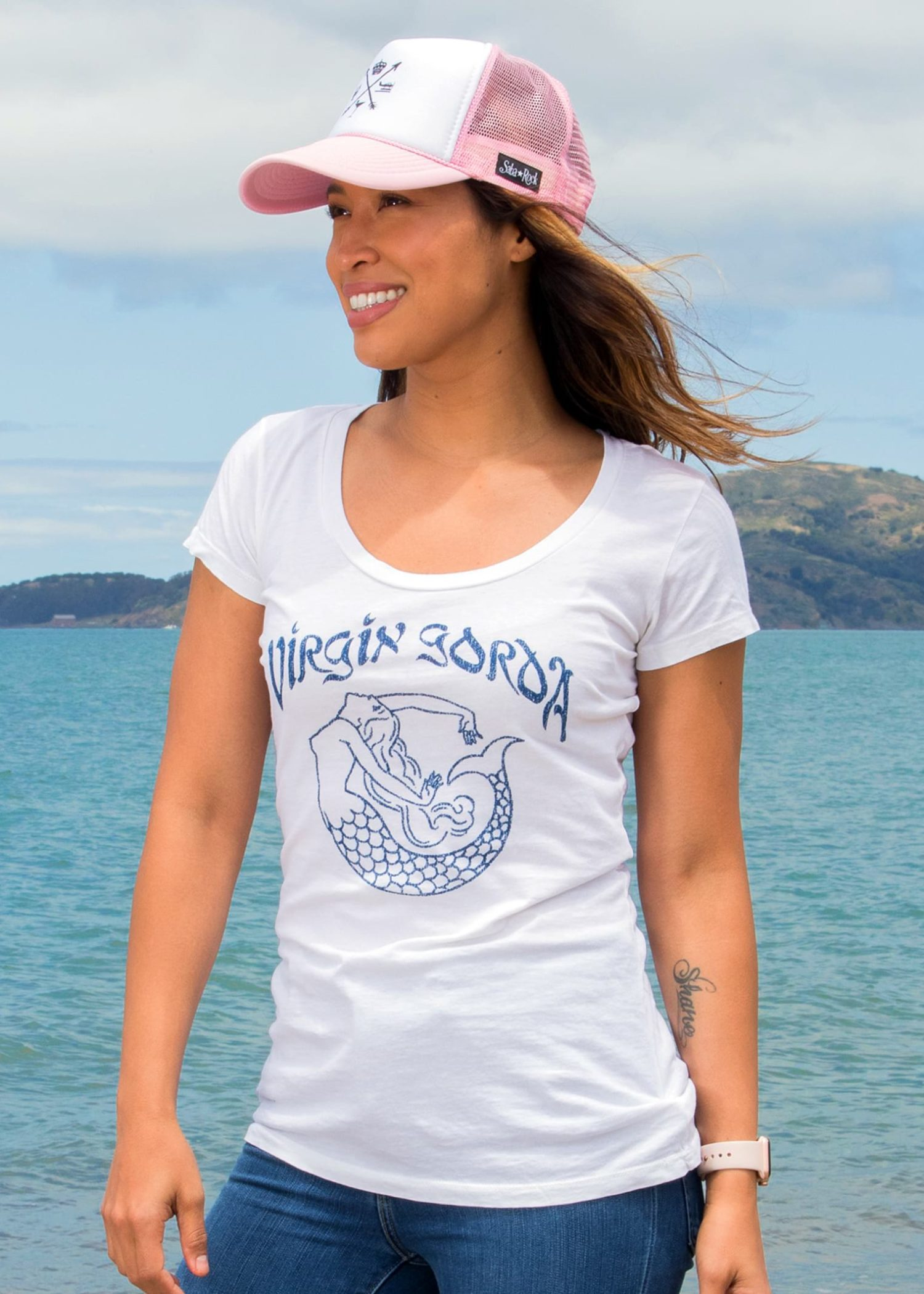 Women's White Saba Rock Jersey Scoop T-Shirt