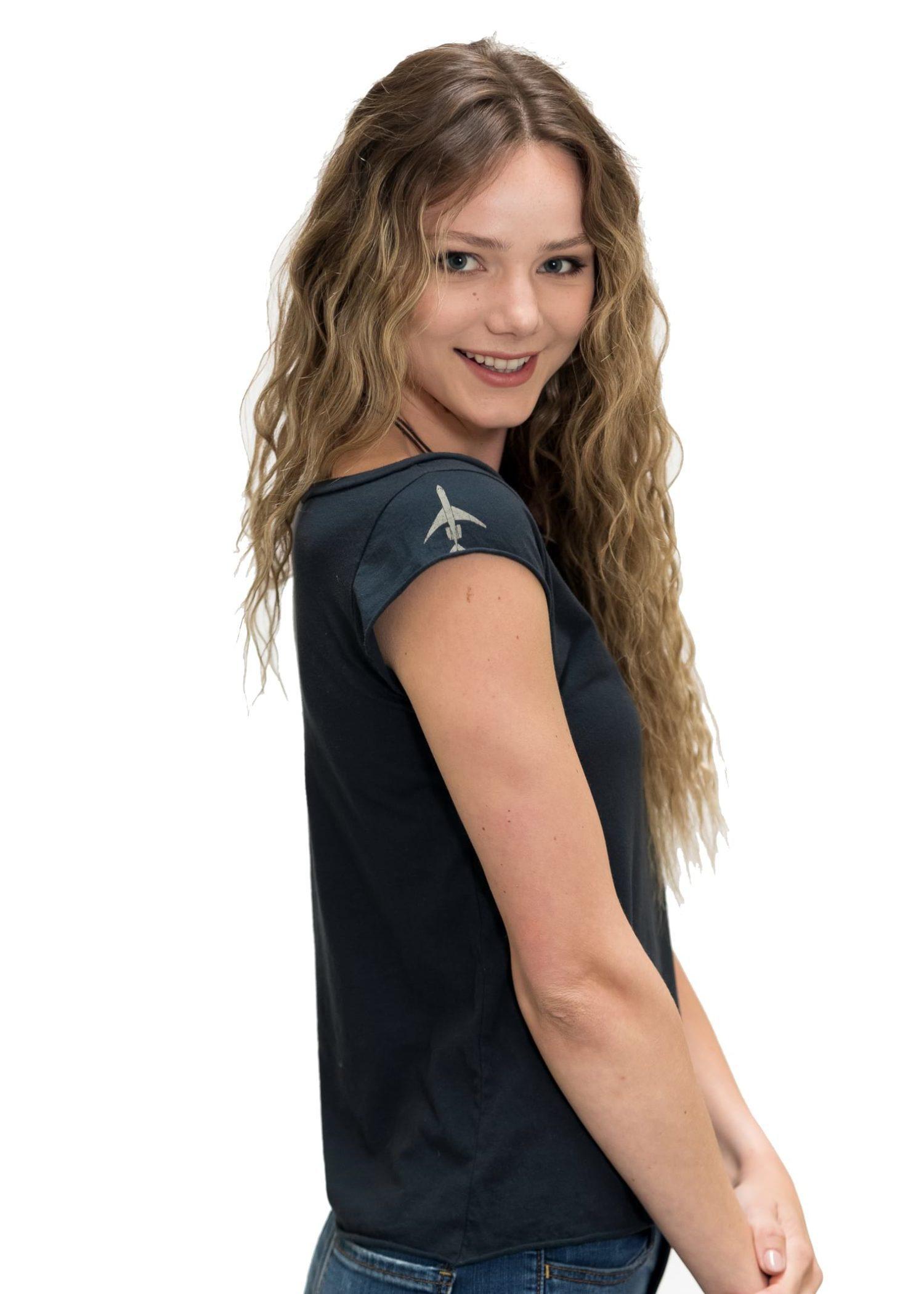Women's Silver Air Rocker Muscle Crew T-Shirt