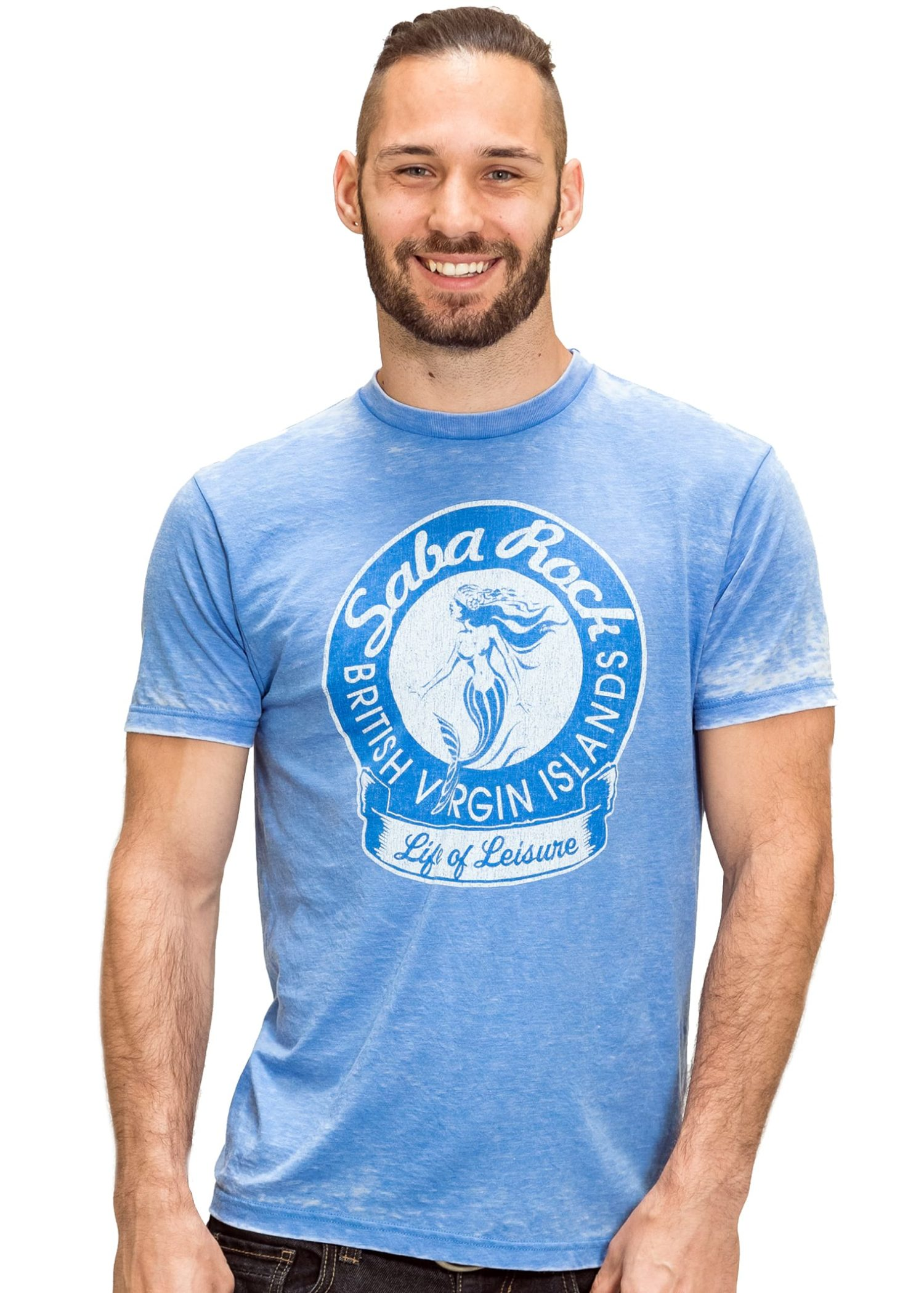 Men's Blue Saba Rock Burnout Crew T-Shirt