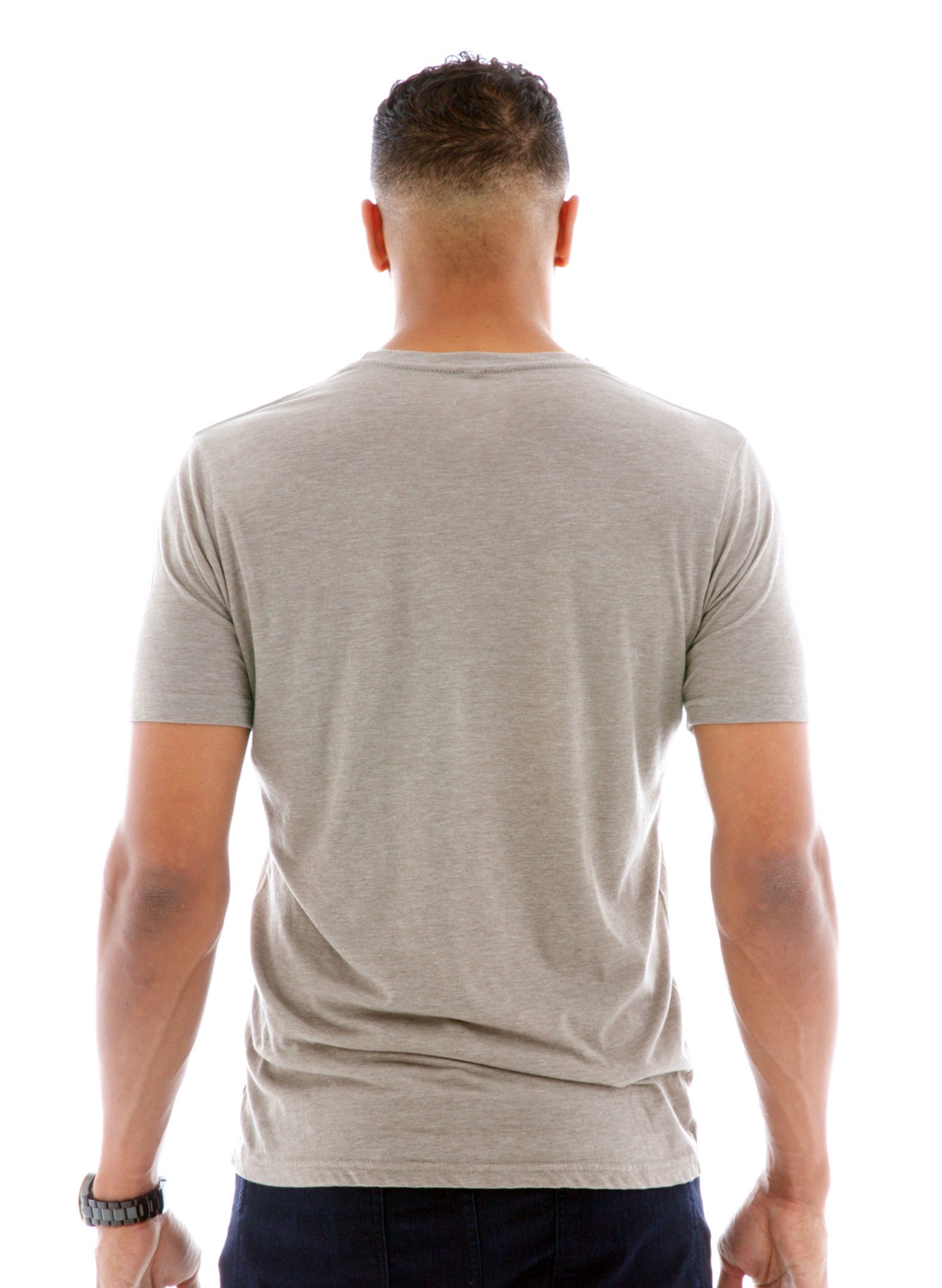 Heathered Crew Short Sleeve T-Shirt Back View