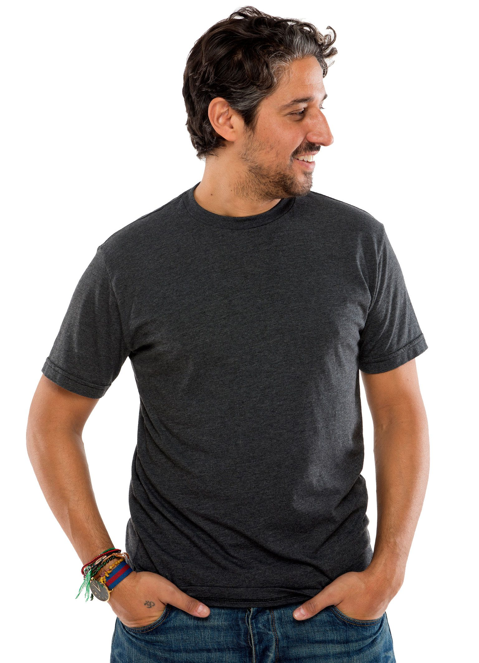 Heathered Crew Short Sleeve T-Shirt in Black Heather
