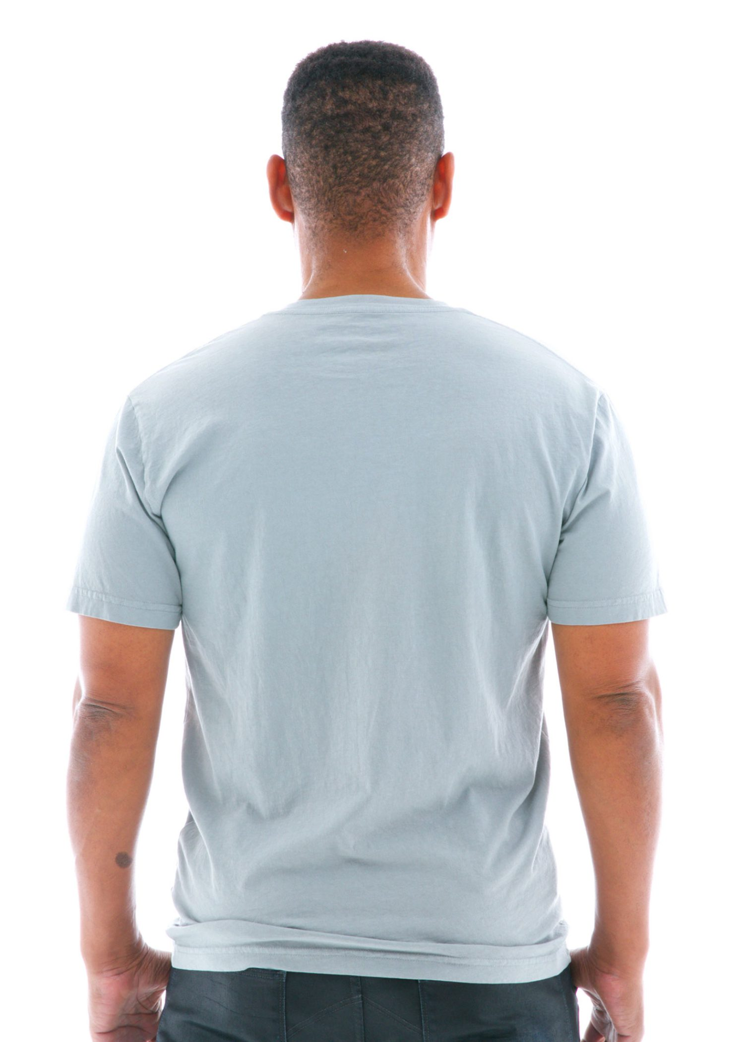 Fine Jersey V-neck Short Sleeve T-Shirt Back View