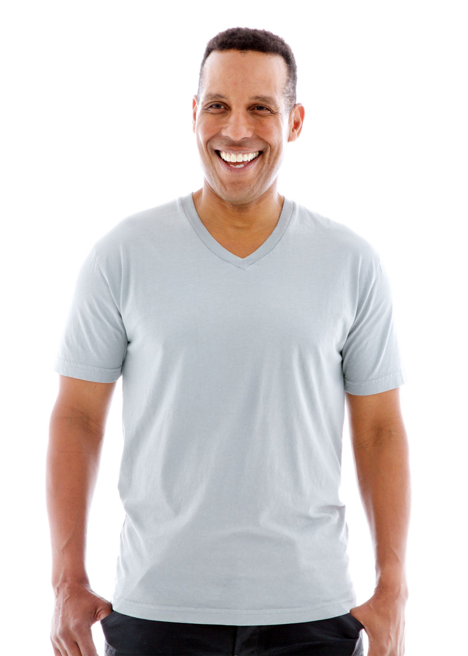 Fine Jersey V-neck Short Sleeve T-Shirt Front View