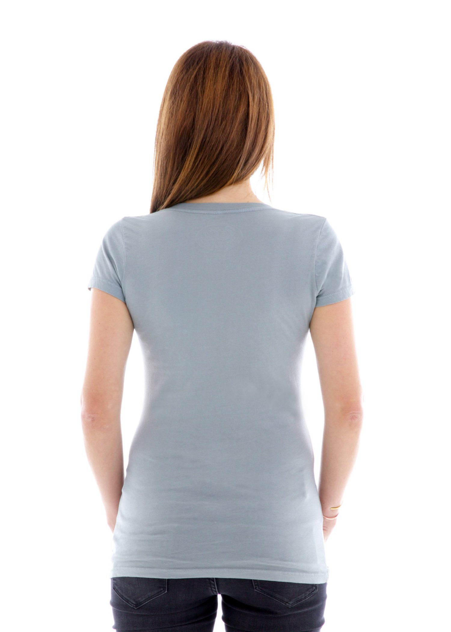 Fine Jersey Deep V-neck Short Sleeve T-Shirt Back View