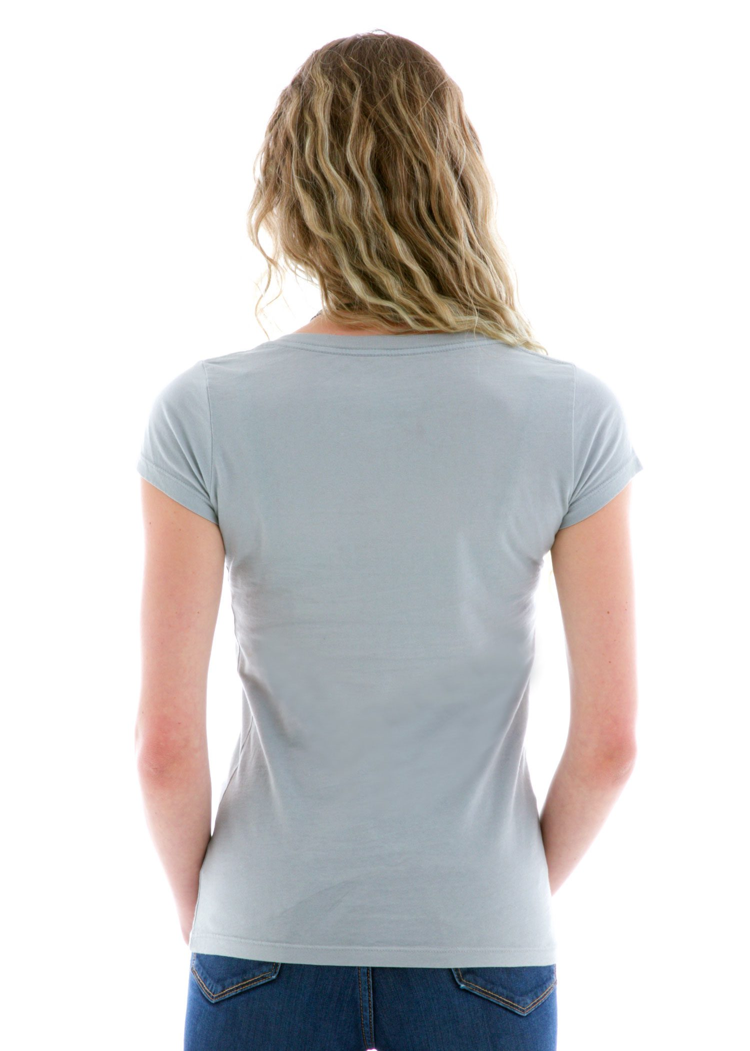 Premium Shallow V-neck Short Sleeve T-Shirt Back View