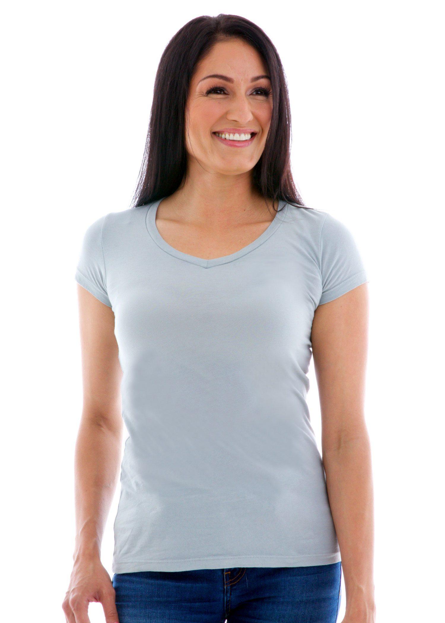 Premium Shallow V-neck Short Sleeve T-Shirt Front View