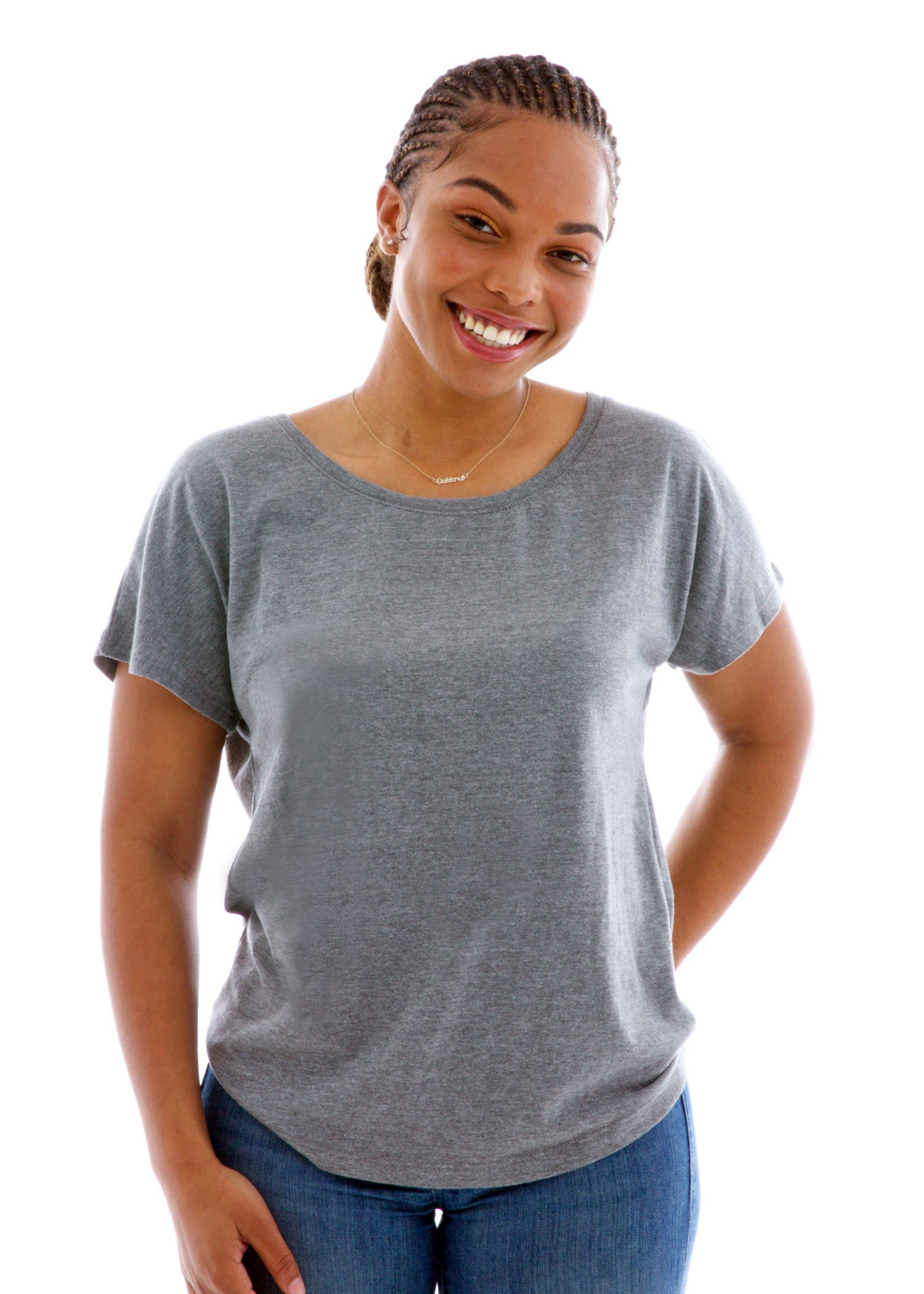 Triblend Dolman Short Sleeve T-Shirt Front View