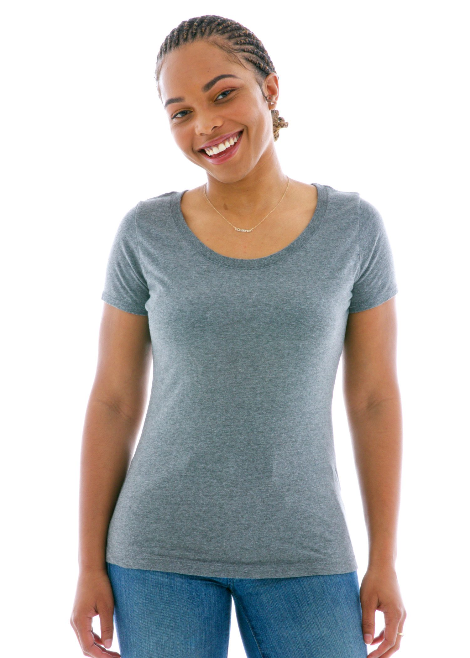 Luscious Triblend Scoop Short Sleeve T-Shirt Front View