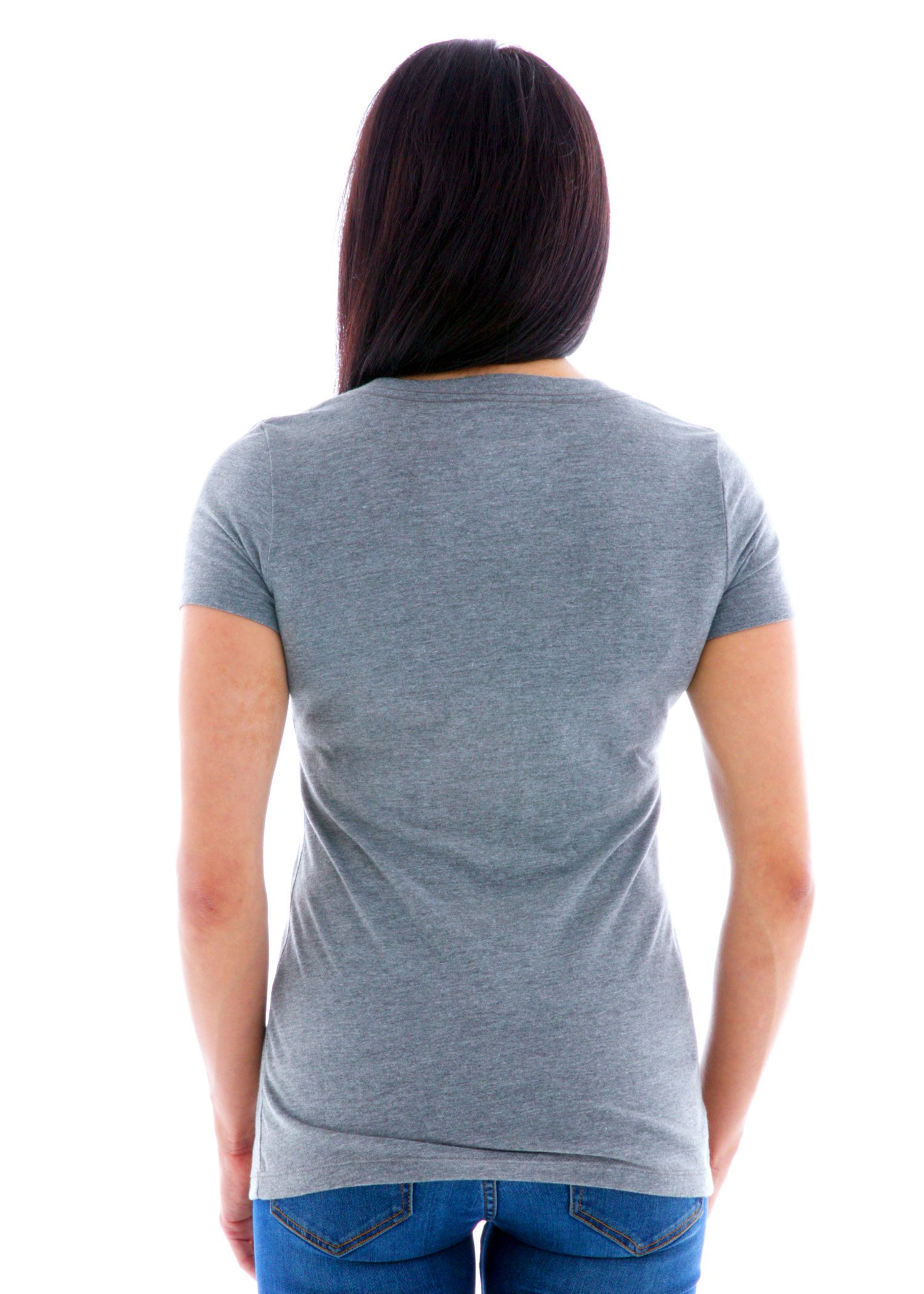 Luscious Triblend V-Neck Short Sleeve T-Shirt Back View