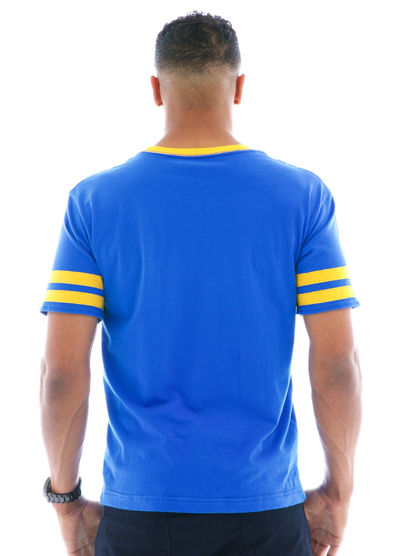 Striped Sport Ringer Short Sleeve T-Shirt Back View