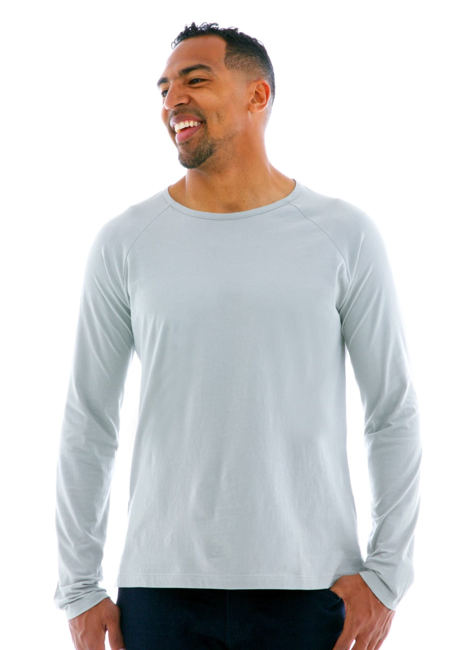 Long Sleeve Raglan Crew T-Shirt Front View