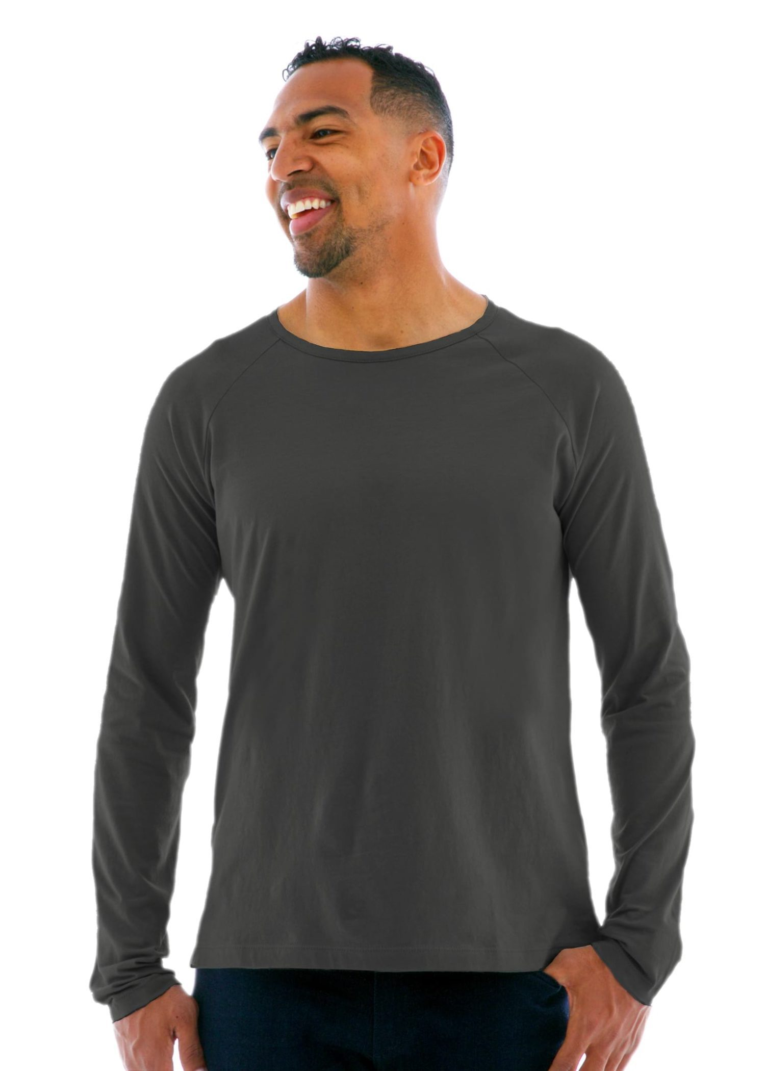 Long Sleeve Raglan Crew T-Shirt in Medium Gray