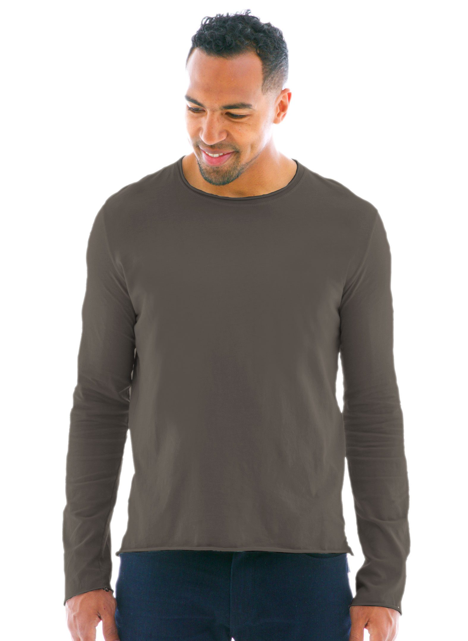 Raw Edge Long Sleeve Crew T-Shirt Front in Medium Gray