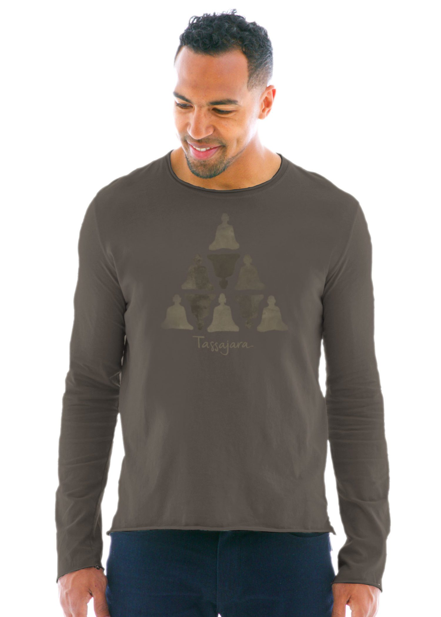 Men's Raw Edge Long Sleeve Crew T-Shirt