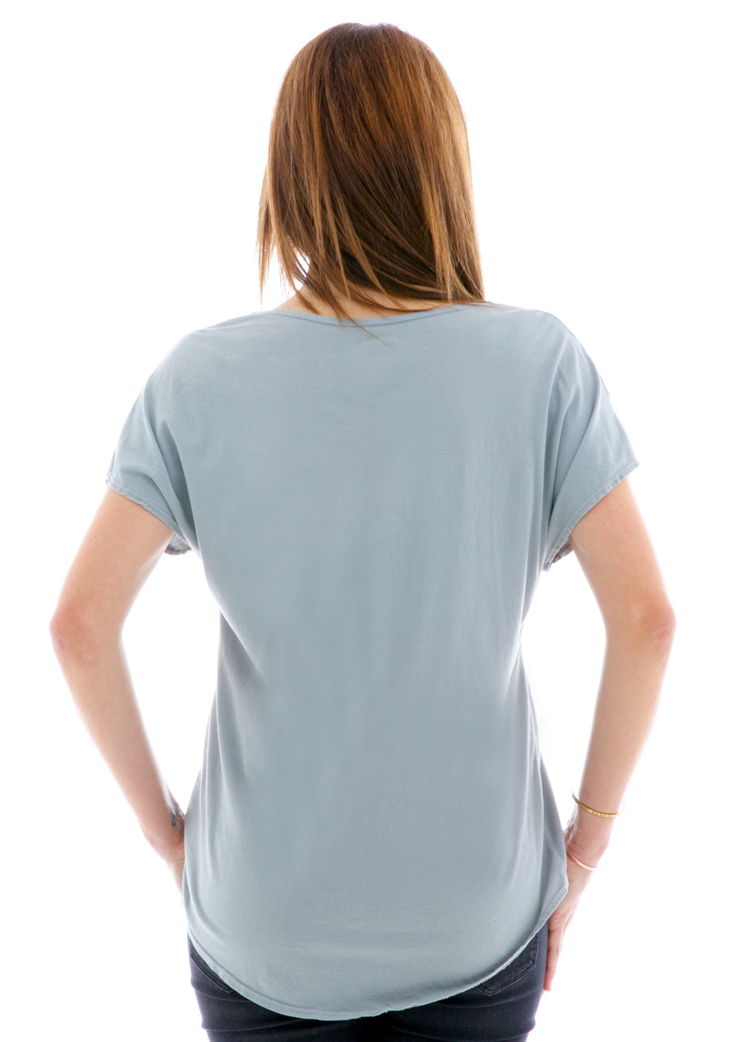 Sleeveless Dolman Short Sleeve T-Shirt Back View