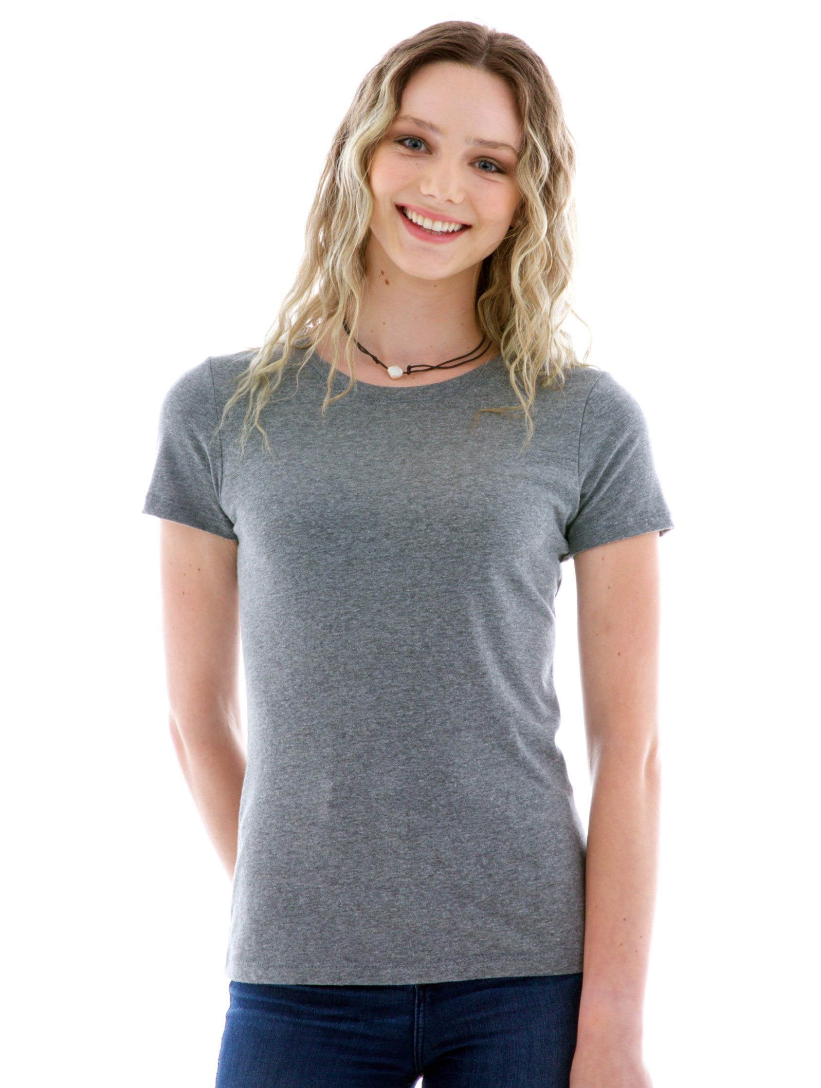 Luscious Triblend Crew Short Sleeve T-Shirt Front View