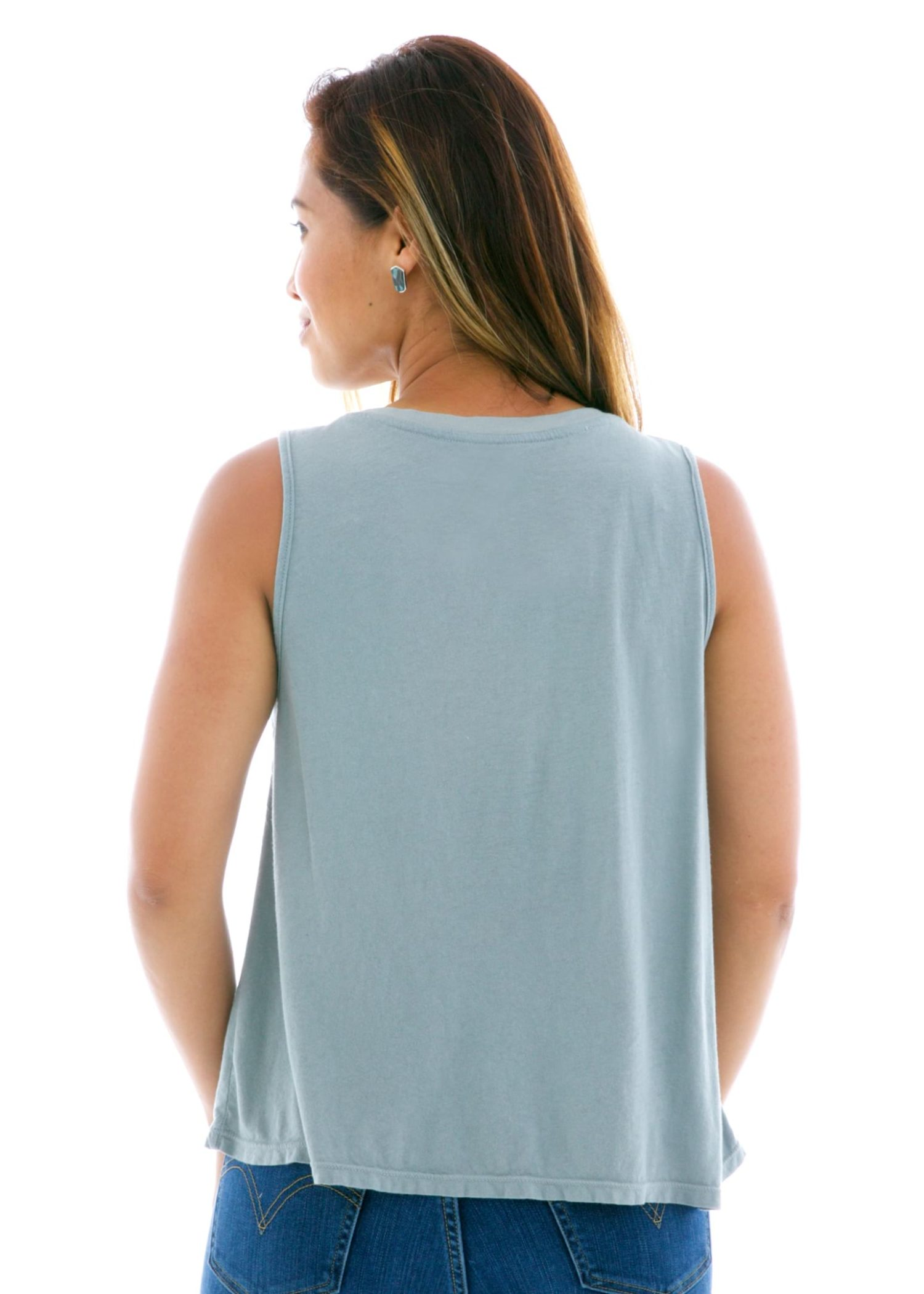 Cropped Muscle Tank Top Back View