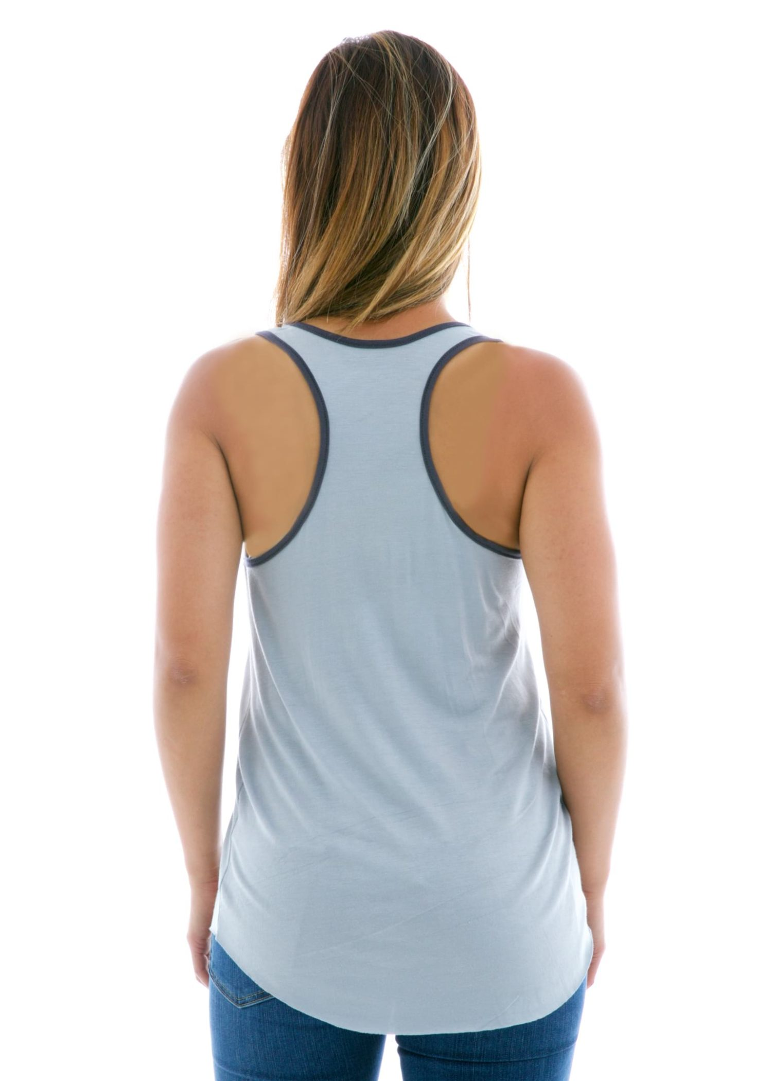 Racerback Ringer Tank Top Back View