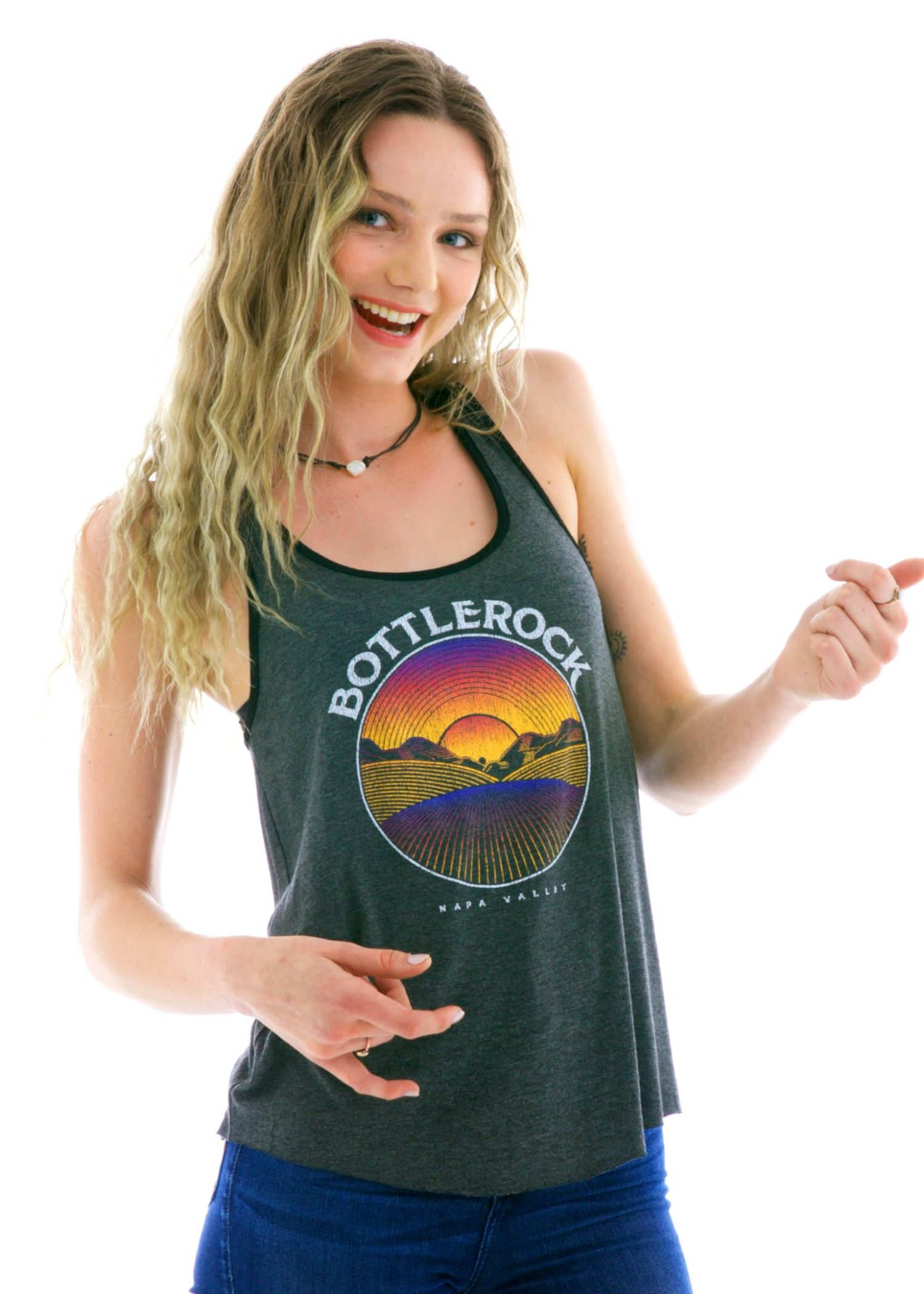 Racerback Ringer Tank Top with Logo