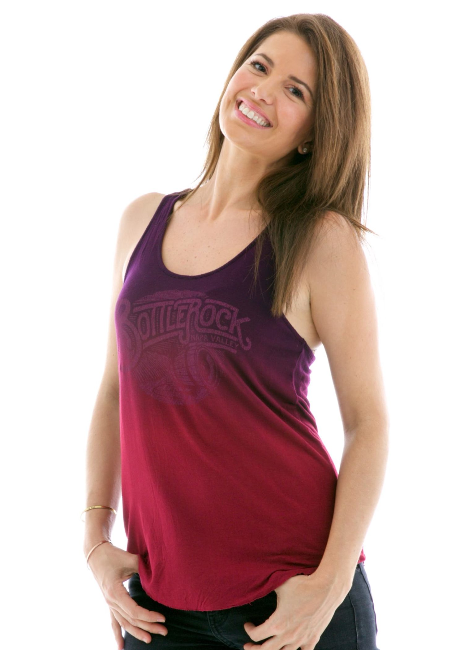 Racerback Tank Top in Ombre Side View