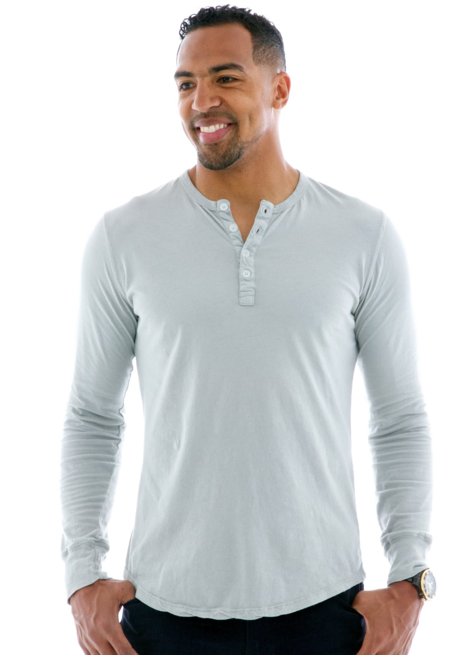 Vintage Long Sleeve Henley T-Shirt Front View