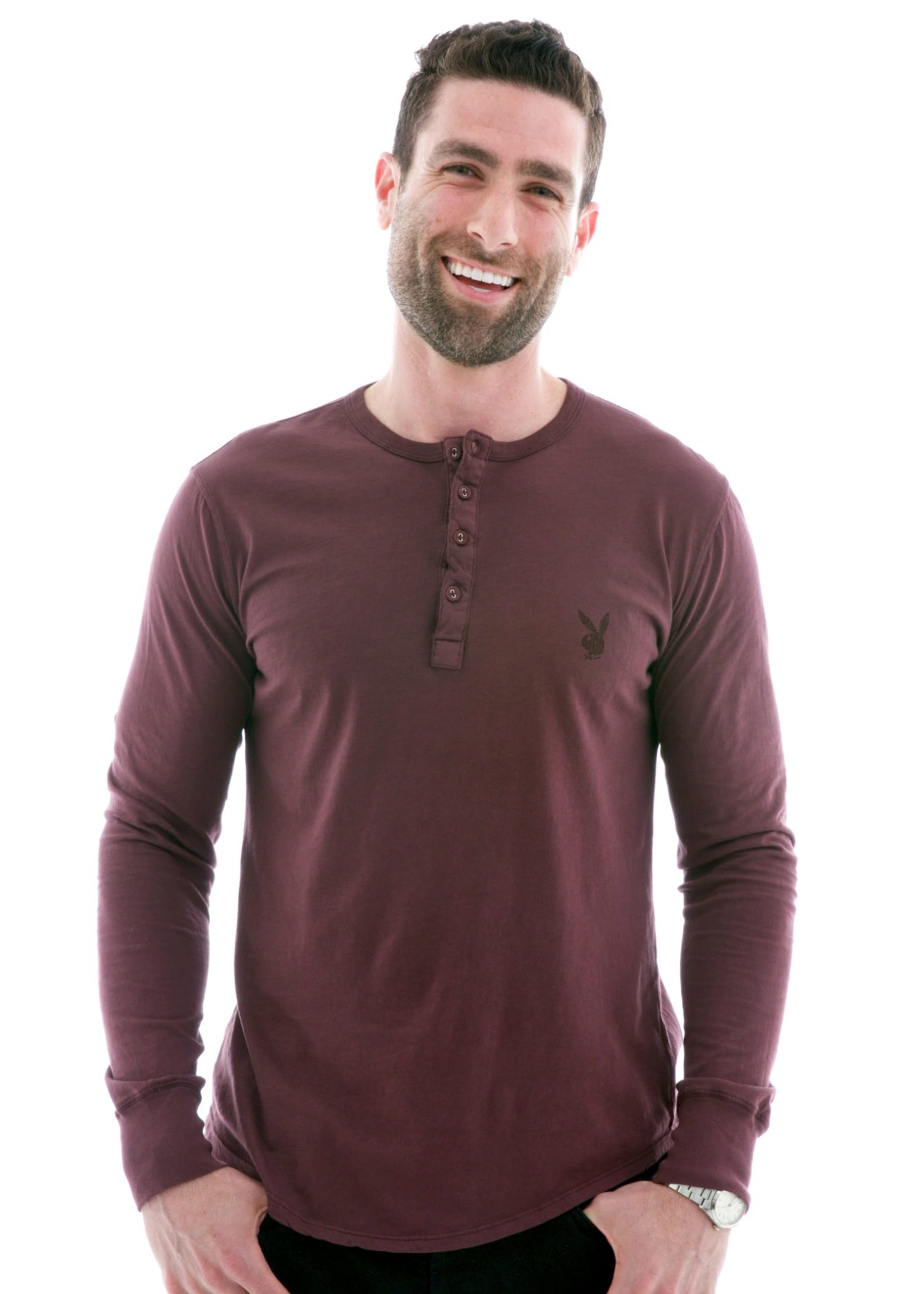 Men's Vintage Long Sleeve Henley T-Shirt