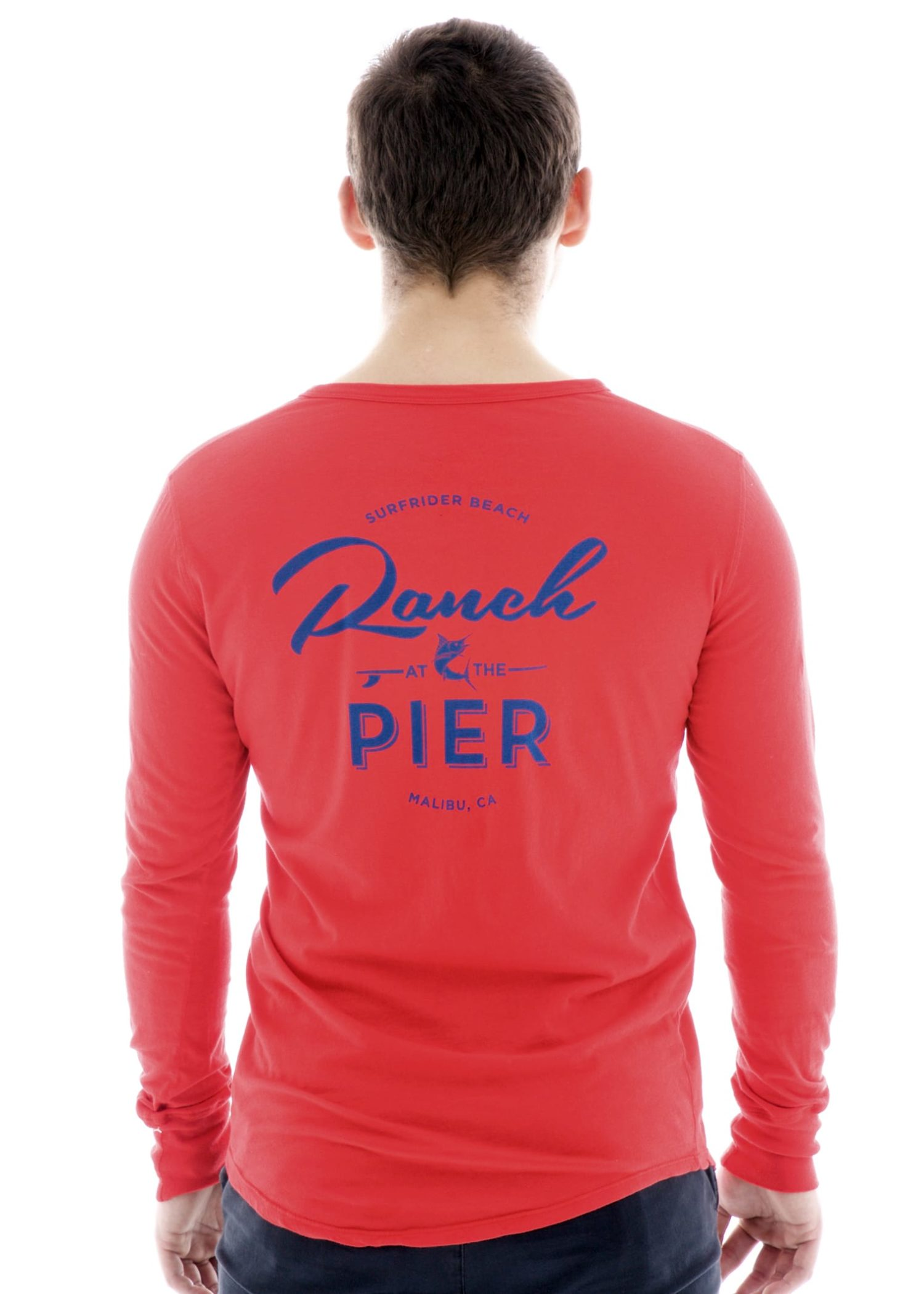 Vintage Long Sleeve Henley T-Shirt with Logo