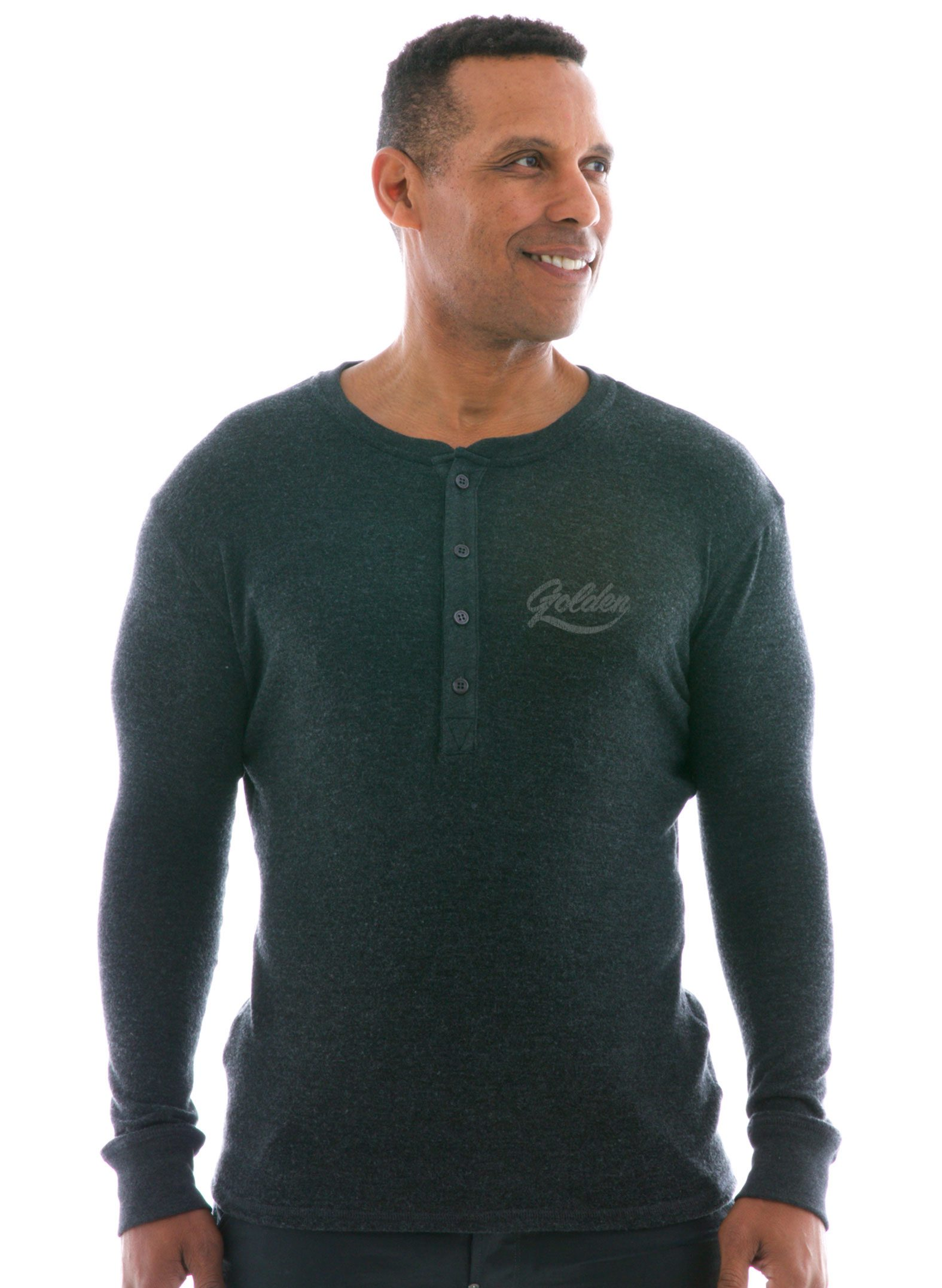 Men's Hacci Long Sleeve Henley T-Shirt