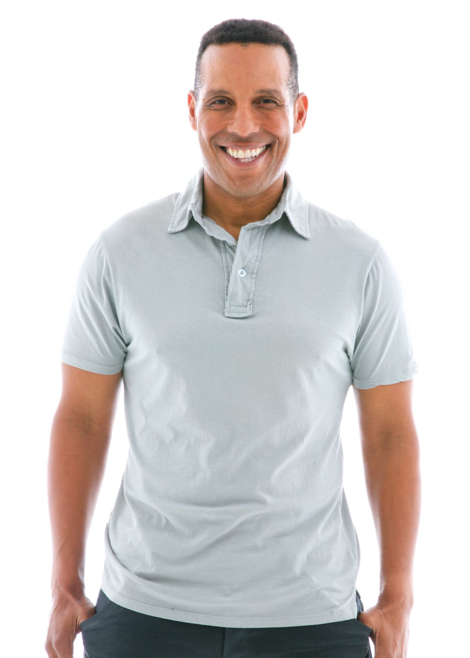 Fine Jersey Polo Short Sleeve T-Shirt Front View