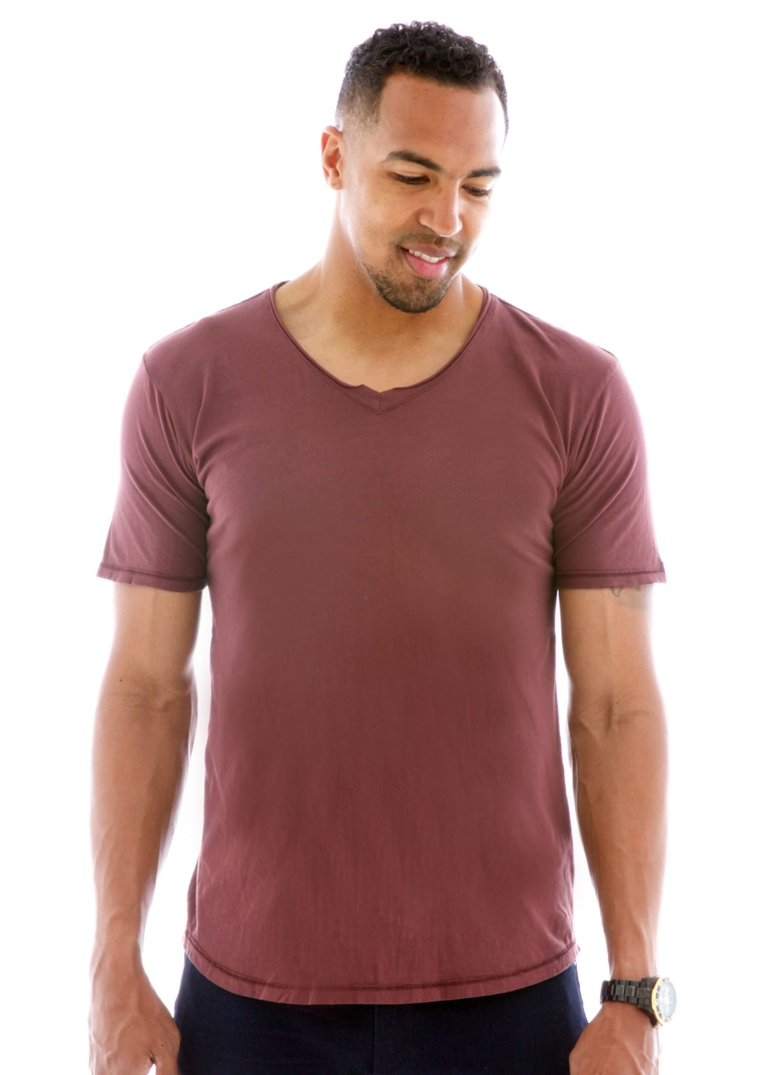 Men's Superfine Raw Double V-neck Short Sleeve T-Shirt