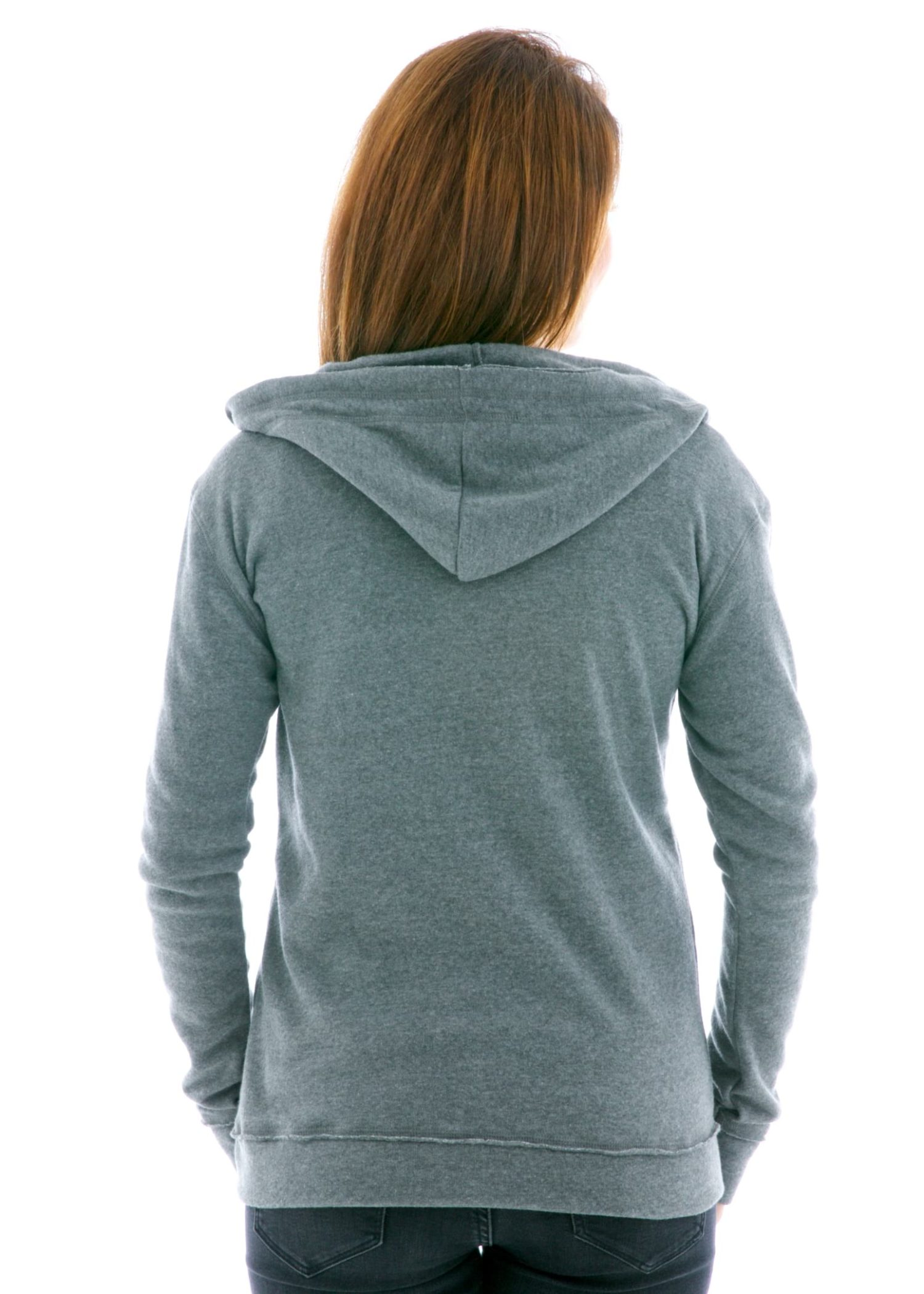 Slim Fit Raw Edged Zip Hoodie Back View