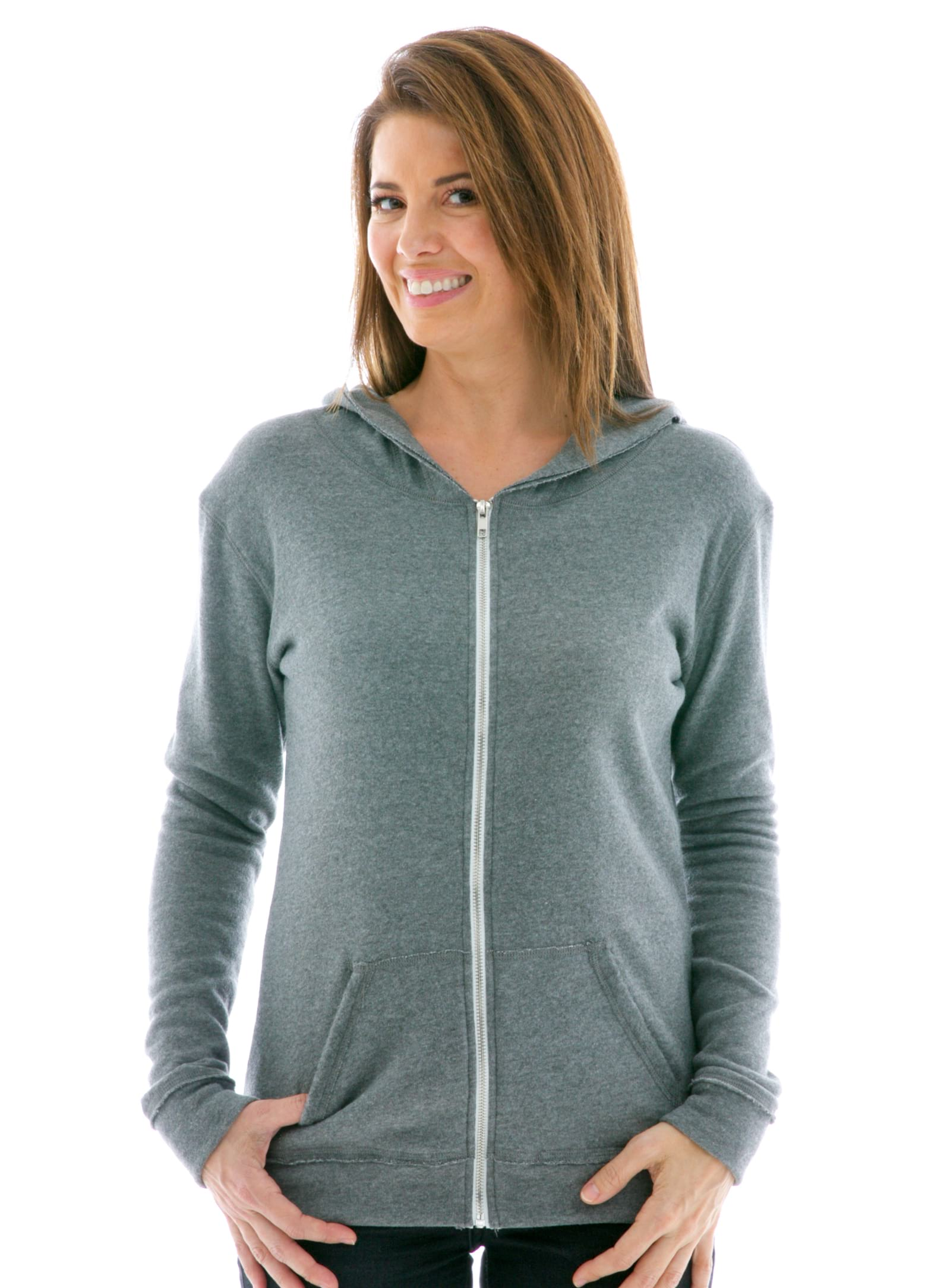 Slim Fit Raw Edged Zip Hoodie Front View