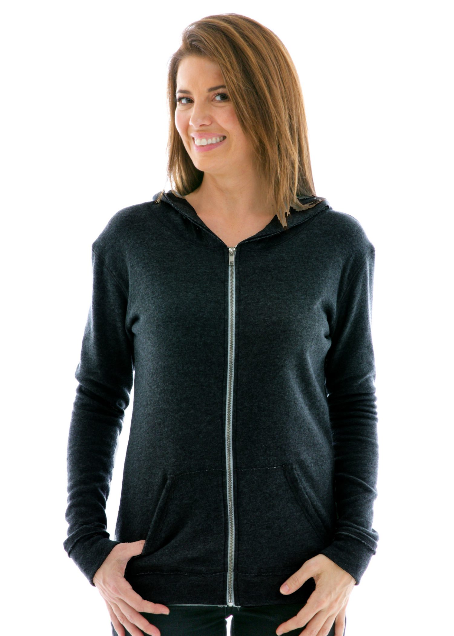 Women's Slim Fit Raw Edged Zip Hoodie