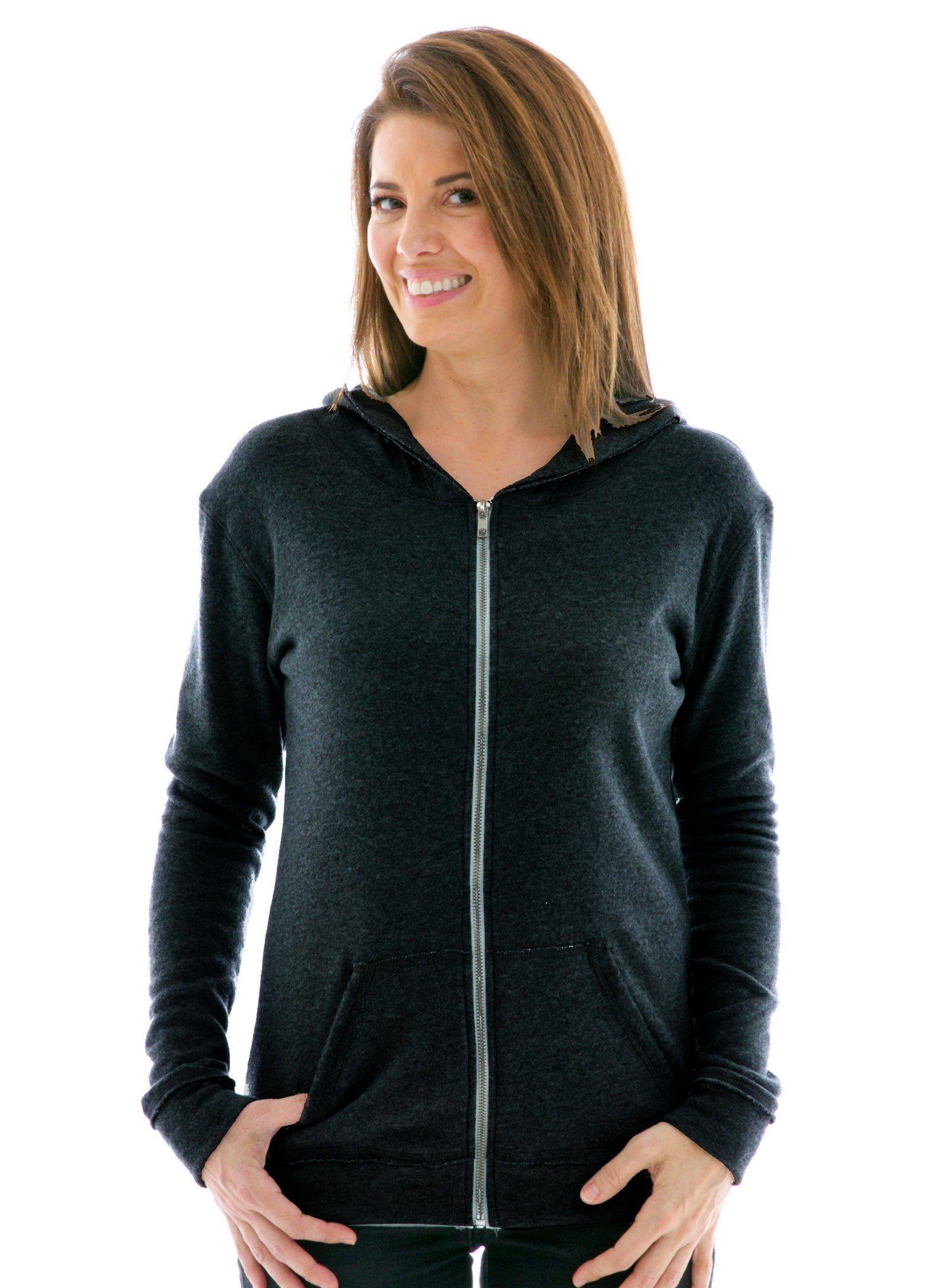 Slim Fit Raw Edged Zip Hoodie in Navy Fleece
