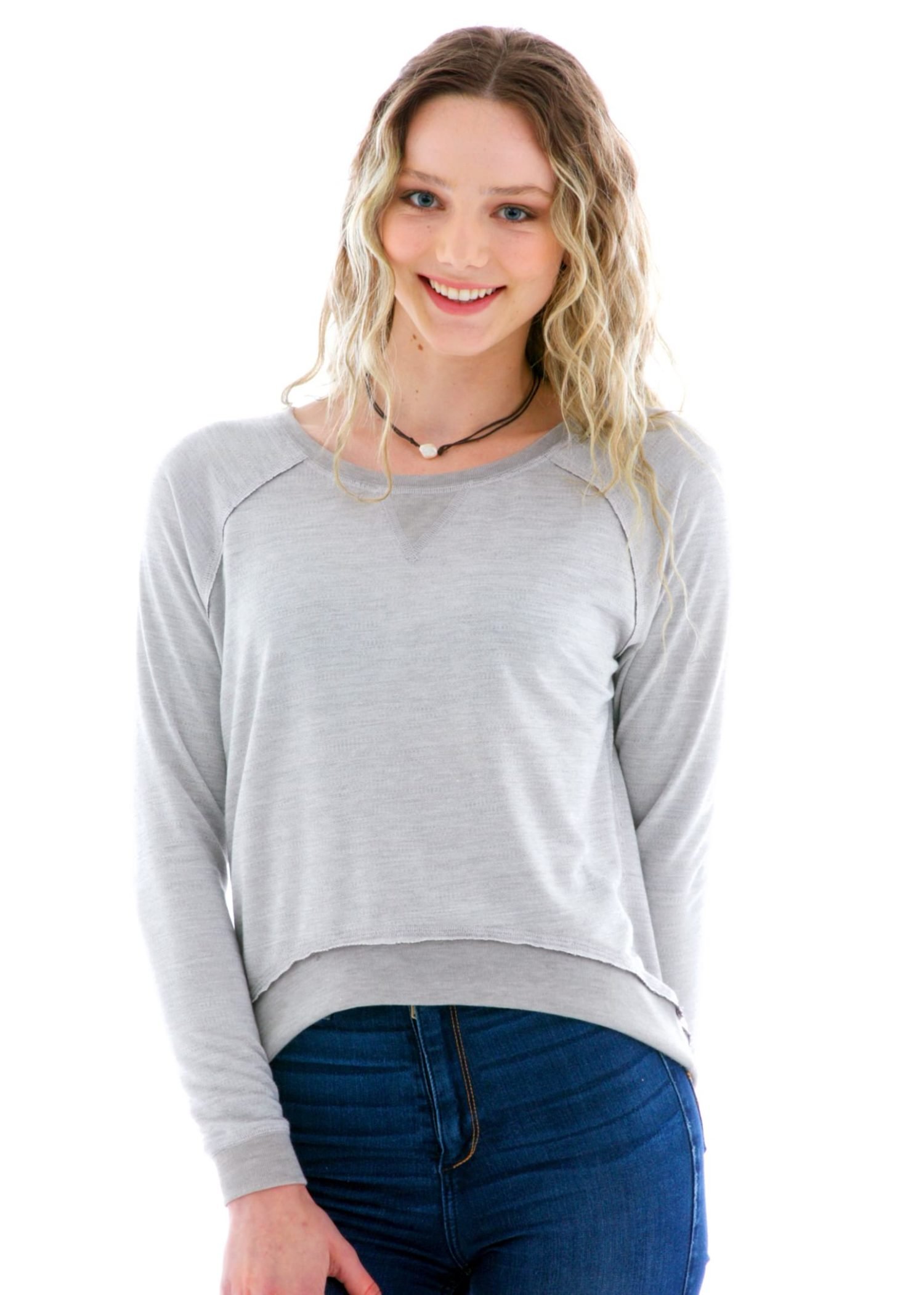 Women's Hi Lo Long Sleeve Raglan Pullover