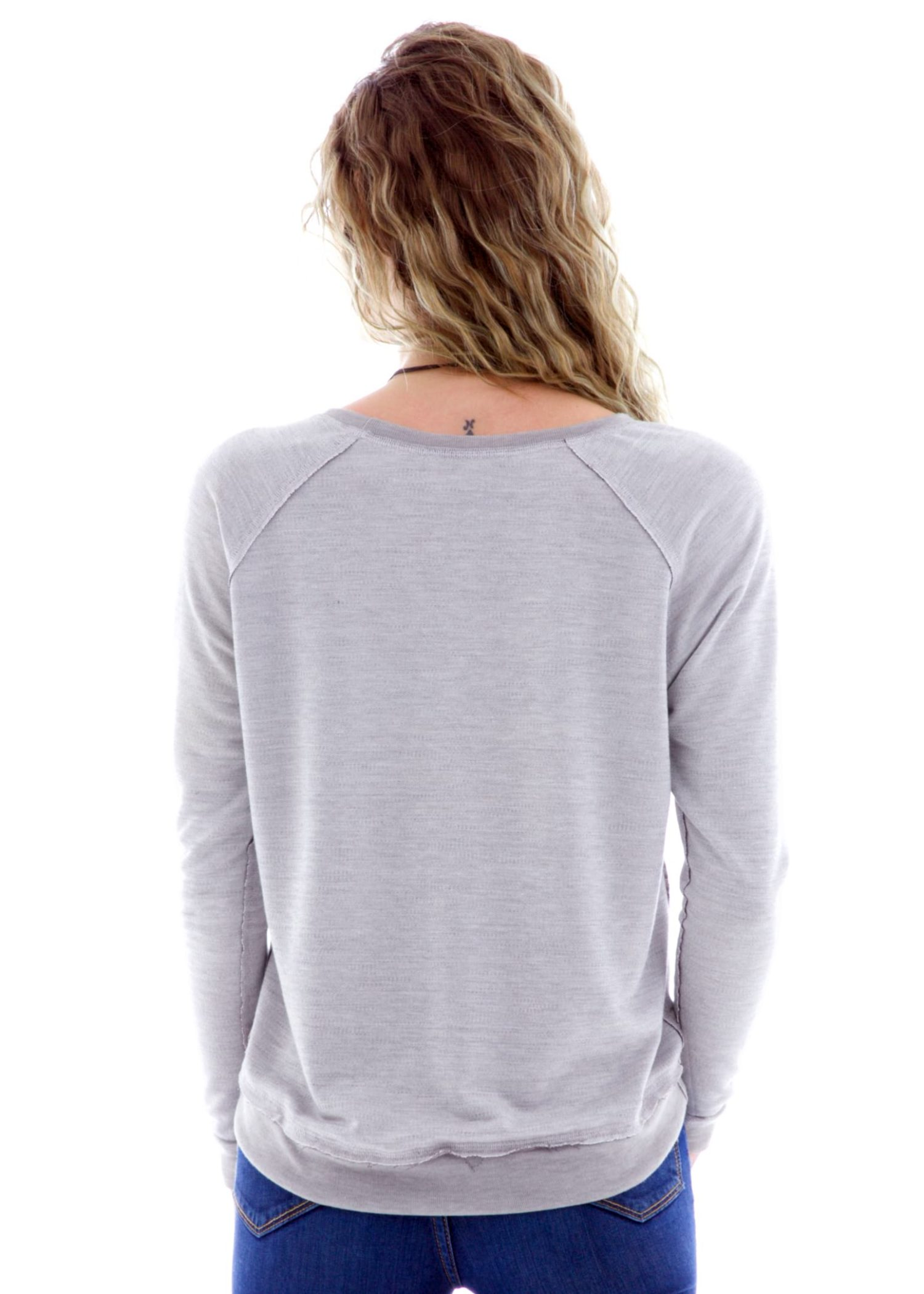 Hi Lo Long Sleeve Raglan Pullover Back View