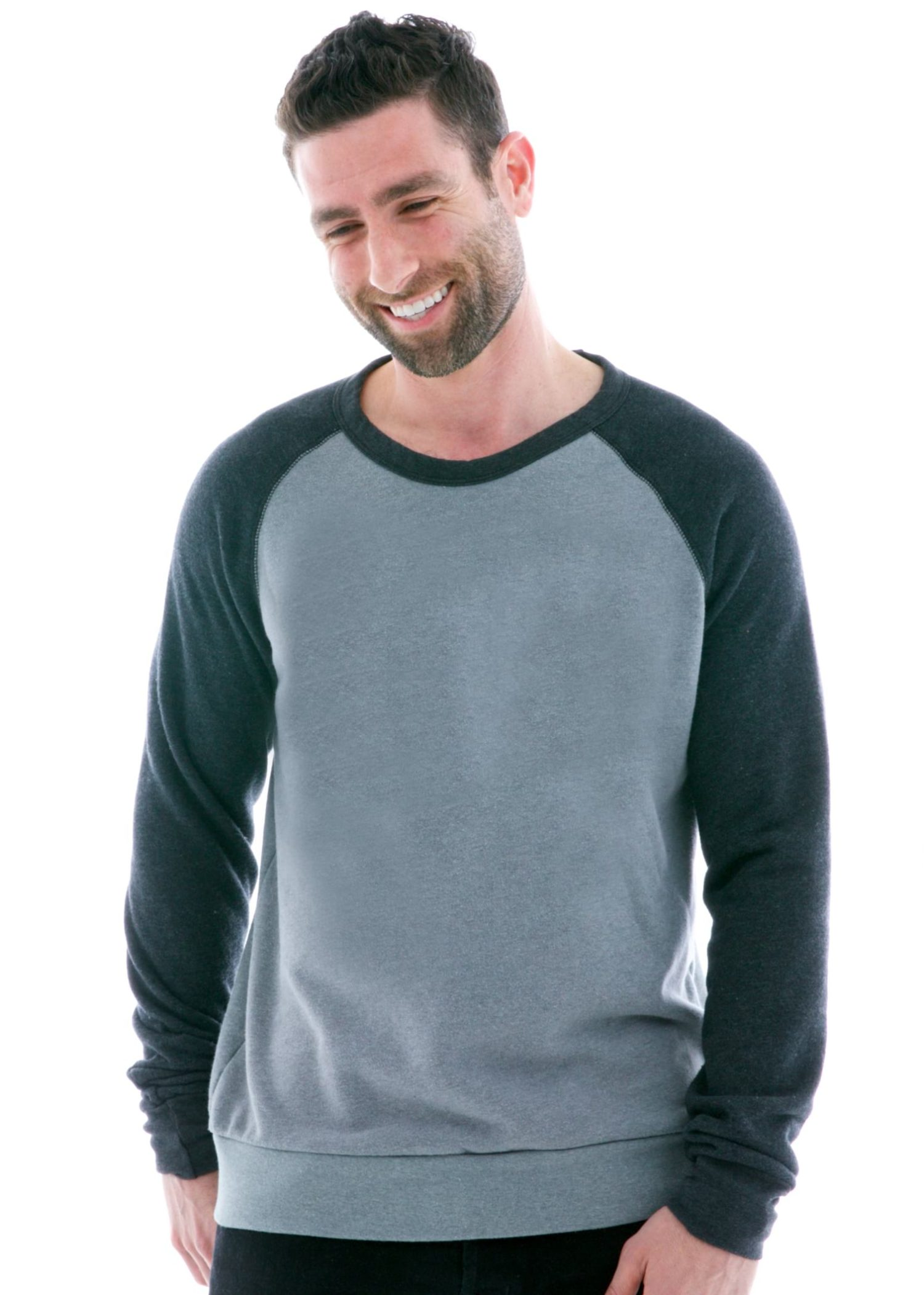 Contrast Sleeve Old School Long Sleeve Raglan T-Shirt Front View