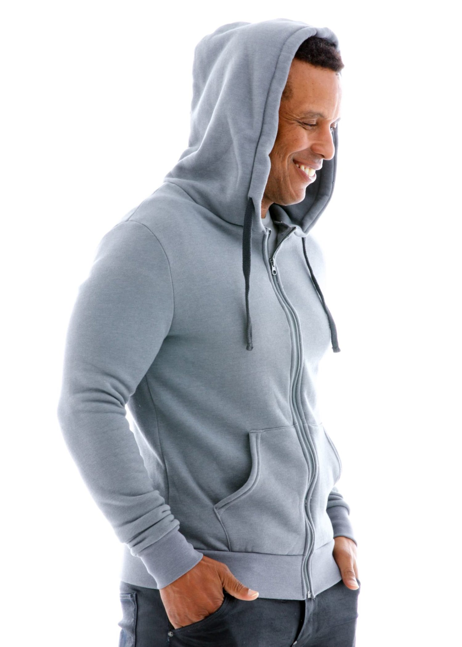 Luxe Heavyweight Zip Hoodie Side View
