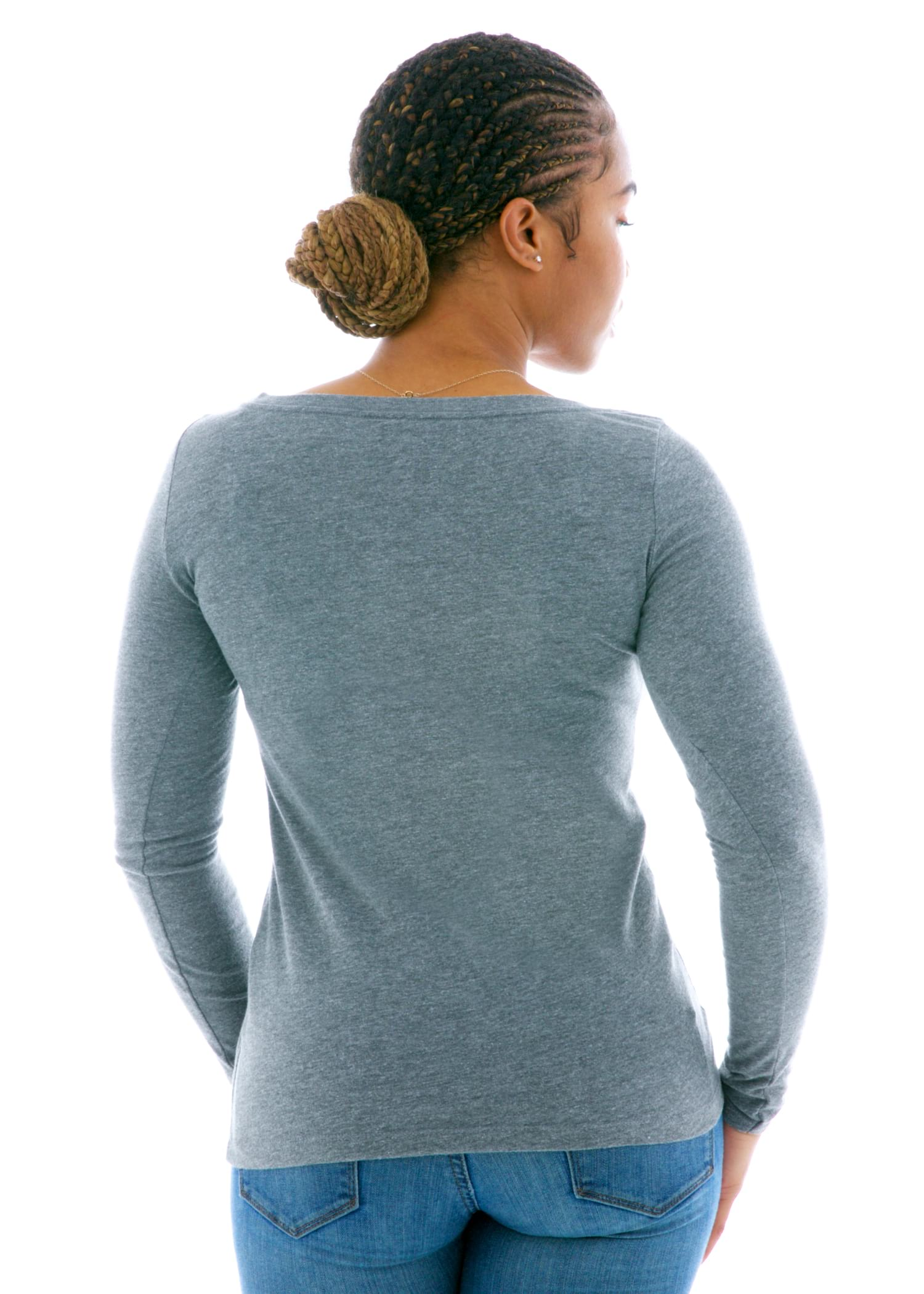 Long Sleeve Triblend Scoop T-Shirt Back View