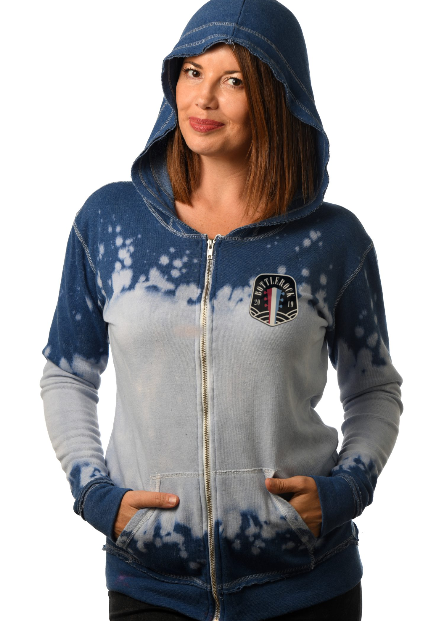 GG 782-SP Women's Bleachout Zip Hoodie-Front 2 BR patch